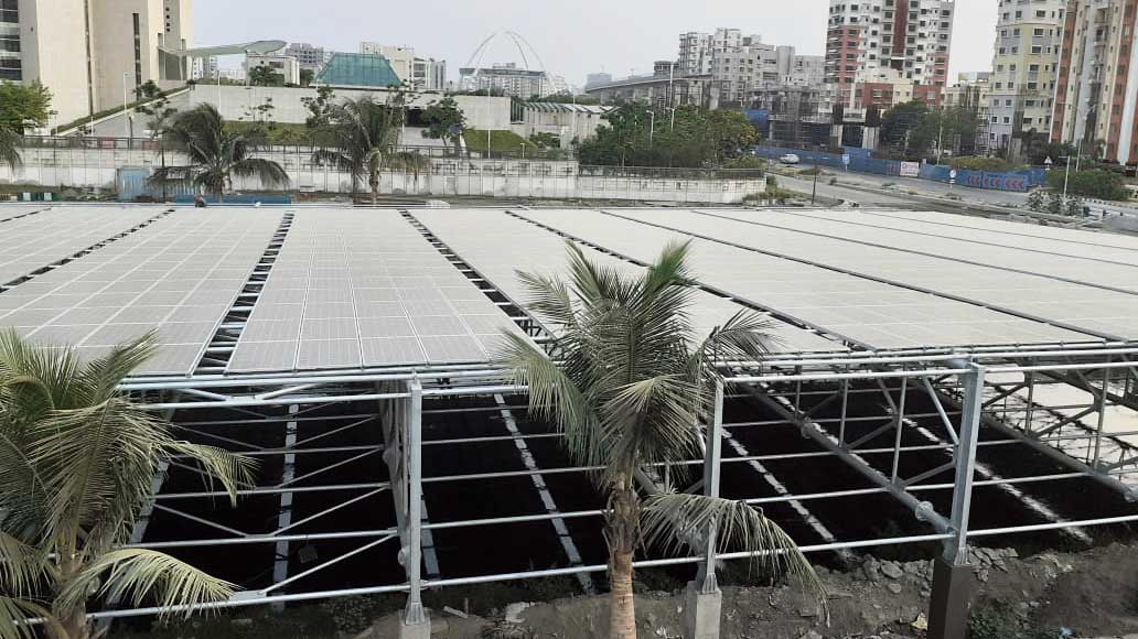 The canal top solar plant next to Biswa Bangla Convention Centre