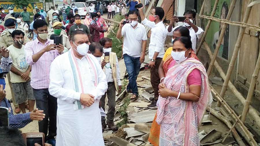 Members of the National Commission for Scheduled Castes meet alleged victims of the violence in Burdwan on Thursday.
