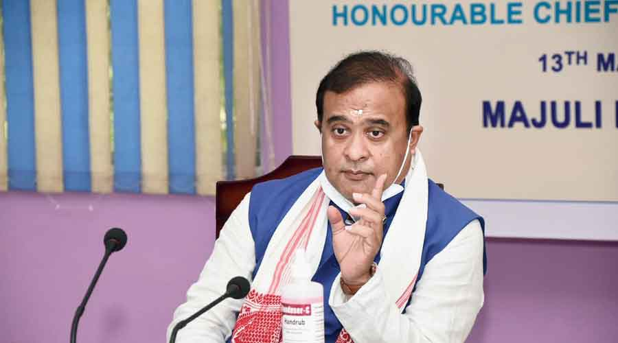 Assam chief minister Himanta Biswa Sarma during a  Covid review meeting at the Majuli DC office conference hall on Thursday