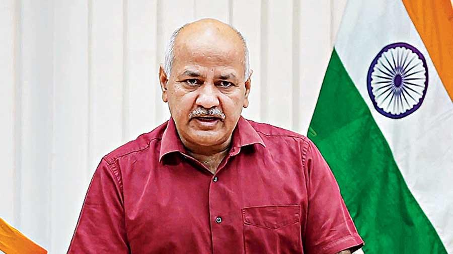 Delhi Deputy CM Manish Sisodia addresses a press conference via video conferencing, in New Delhi.