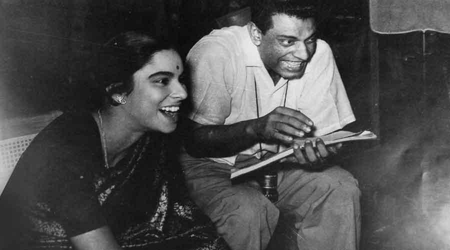Satyajit Ray with Madhabi Mukherjee
