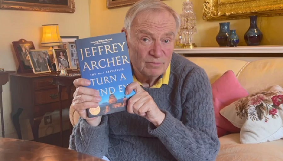 Jeffery Archer with his book Turn a Blind Eye