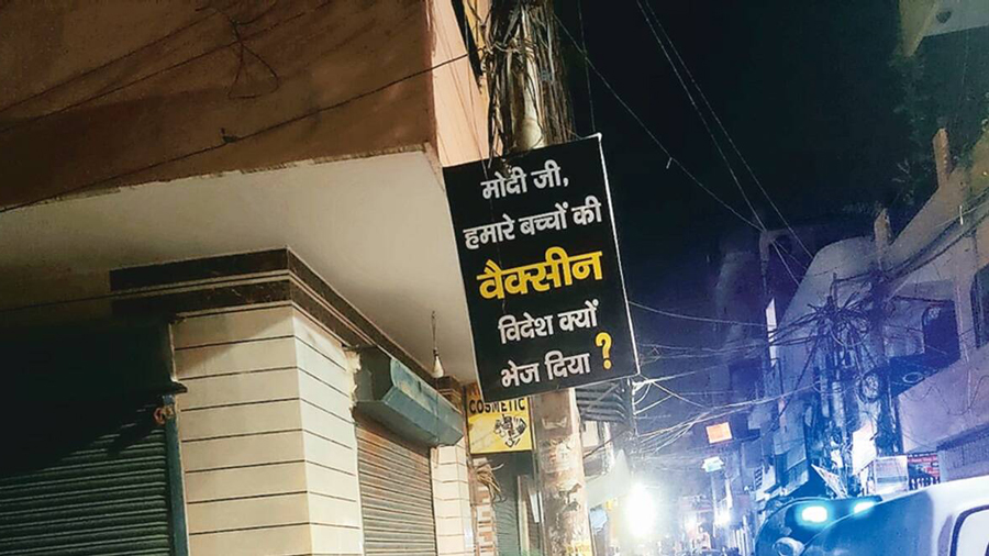 One of the posters, put up at Dwarka, since removed.