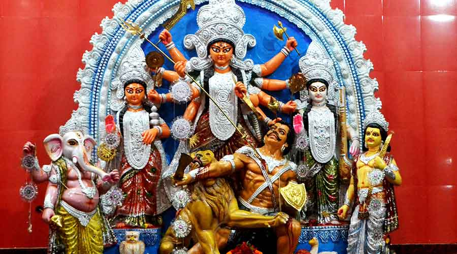 The Durga idol carved out of marble in Jugsalai, Jamshedpur on Friday.
