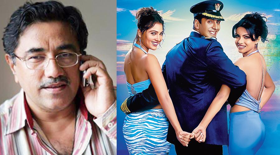 Suneel Darshan (left); Akshay Kumar with debutantes Priyanka Chopra and Lara Dutta in a poster for Andaaz