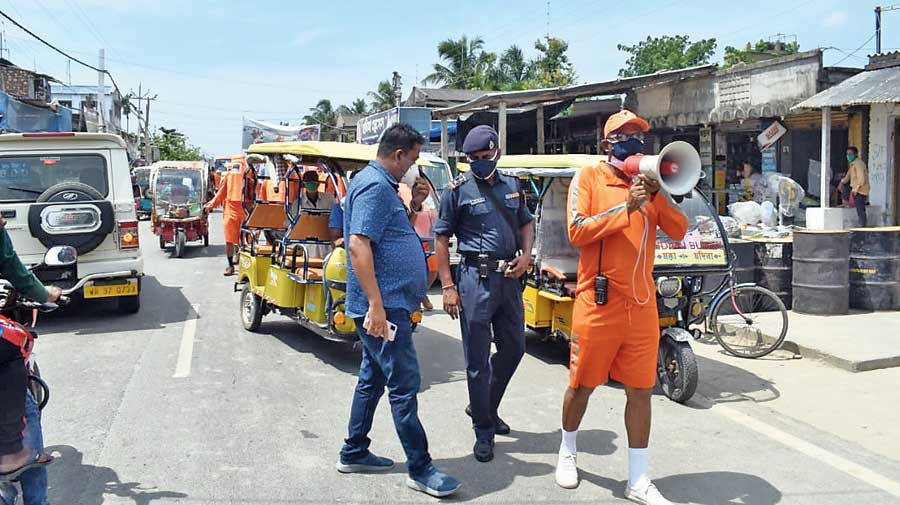 An NDRF member at Sagar Islands in South 24-Parganas on Sunday