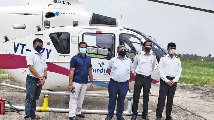 Officials before an aerial survey  in South 24-Parganas