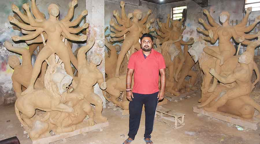 Abhishek Paul, son of Dulal Paul at their workshop in Luby Circular Road in Dhanbad on Sunday.