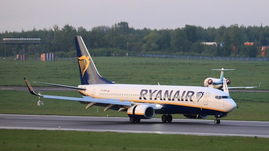 Boeing 737-8AS Ryanair passenger plane (flight FR4978, SP-RSM) from Athens, Greece, that was intercepted and diverted to Minsk by Belarus authorities