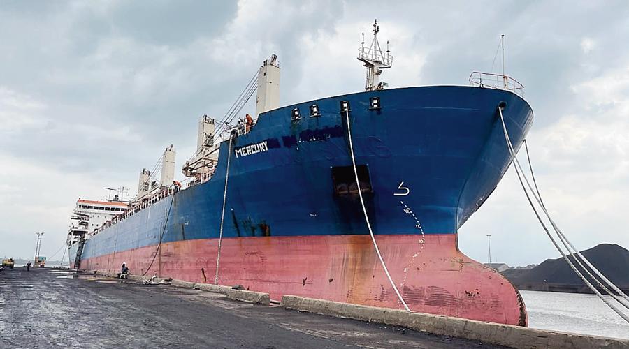 A vessel anchored at the Calcutta Port.