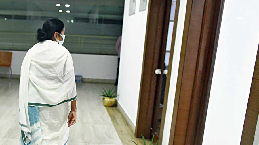 Chief minister Mamata Banerjee at Nabanna on Tuesday night