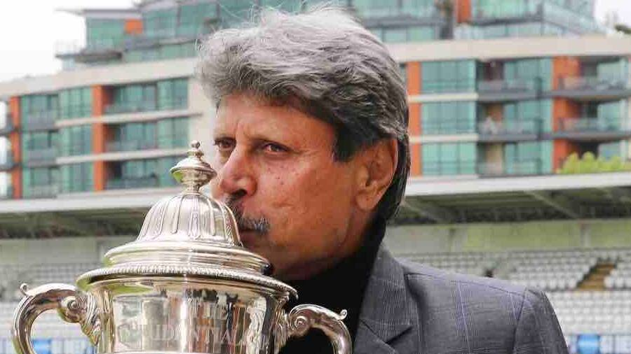 Kapil Dev with the World Cup he won for India in 1983.