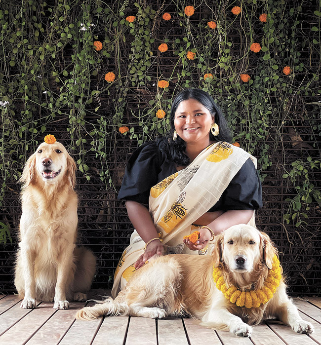 """Sobia Ameen with her """"Spice Dogs"""" Elachi and Darchini."""