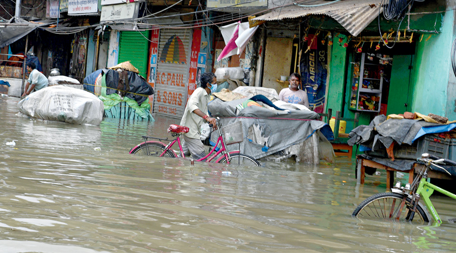 A waterlogged street in Kalighat on Wednesday afternoon.