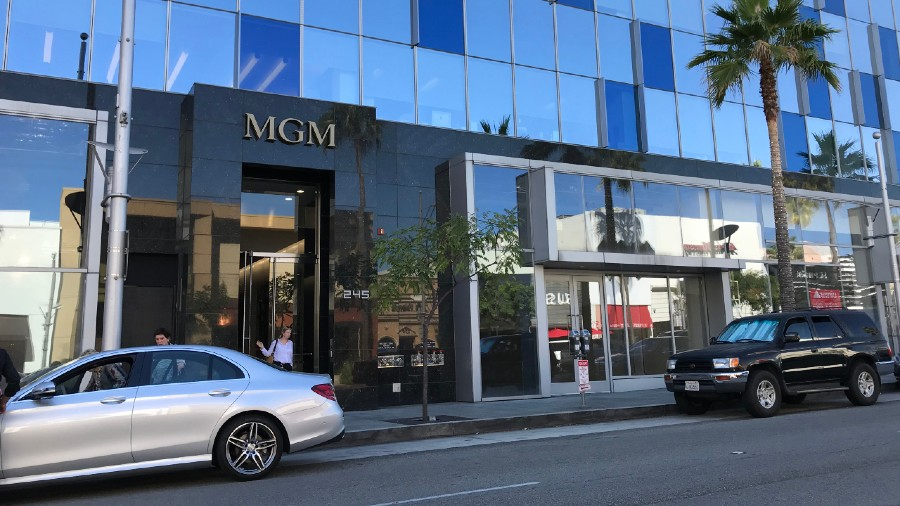 Exterior of the MGM Studios headquarters Metro Goldwyn Mayer office building on Beverly Drive in Beverly Hills.