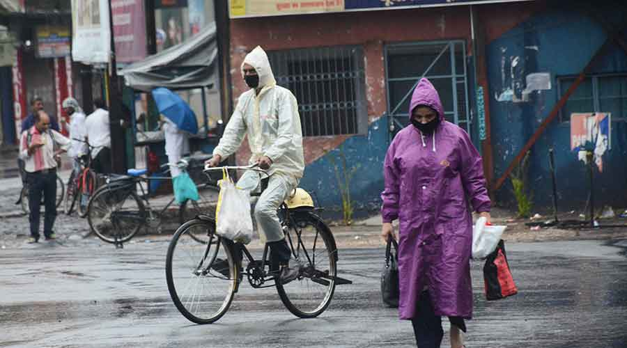 Rain caused by the cyclone lashes across Jamshedpur.
