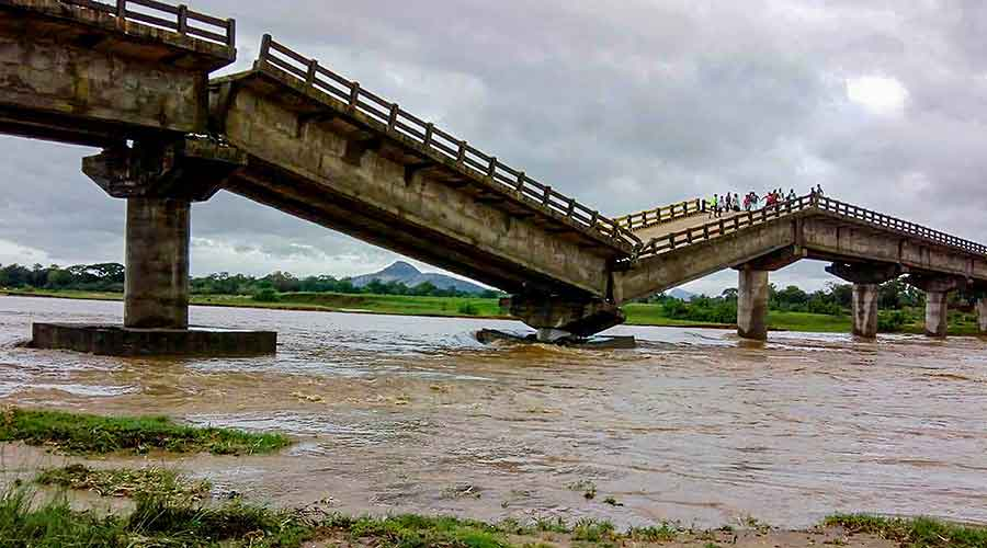 A bridge at river Kanchi after it collapsed due to heavy rain triggered by Cyclone Yaas, in Tamar area of Ranchi on Thursday, May 27, 2021.