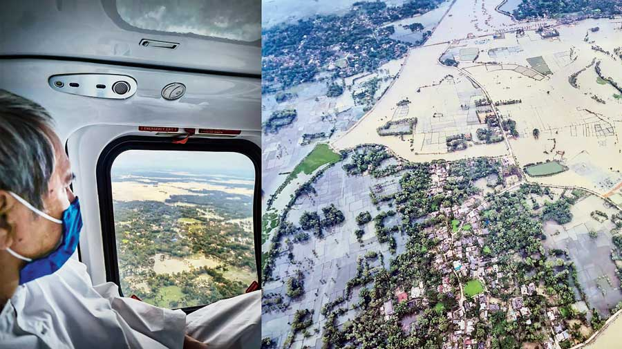 A combination picture of Odisha chief minister Naveen Patnaik during an aerial survey on Thursday of areas ravaged by Cyclone Yaas.