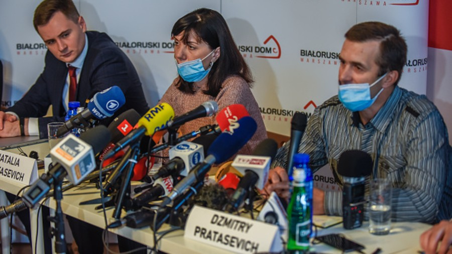 Natalia and Dzmitry Protasevich, the parents of Belarusian journalist Roman Protasevich, at a news conference in Warsaw on Thursday.