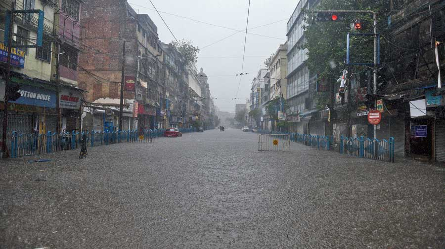 MG Road in Calcutta flooded during heavy rain on Thursday.