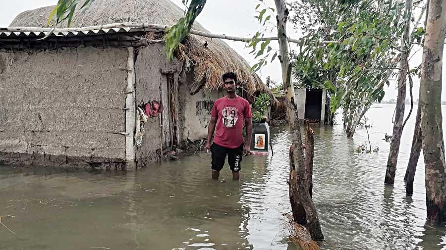 Rajkumar Mondal, resident of Purba Sridharpur, a village in the Mathurapur II block of the Sunderbans that has been inundated