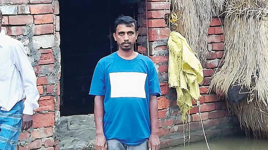 Alok Shikari, resident of Purba Sridharpur, a village in the Mathurapur II block of the Sunderbans that has been inundated