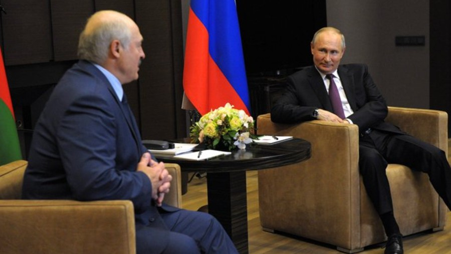 Belarus President Alexander Lukashenko (left) with his Russian counterpart Vladimir Putin in Sochi, Russia.