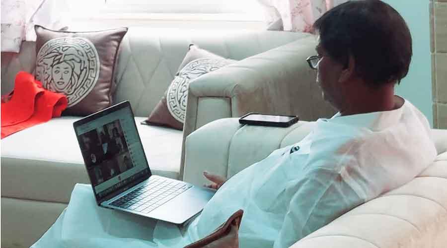 Union tribal affairs minister Arjun Munda during the virtual launch from Delhi on Monday.