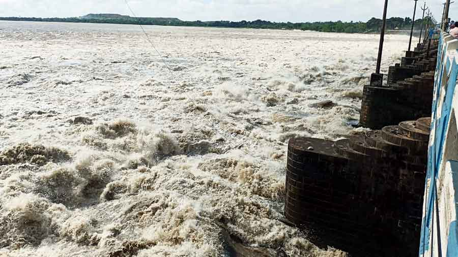 Water being released from the Durgapur Barrage in West Burdwan on Friday.