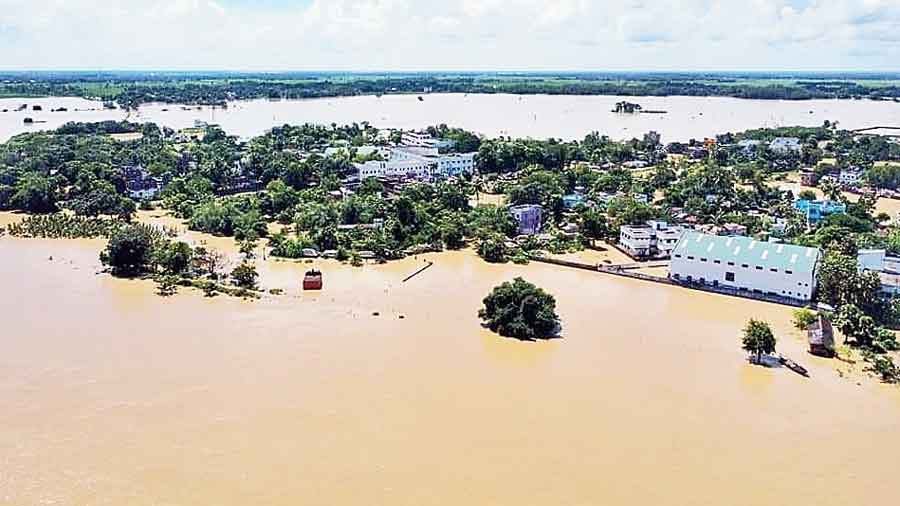 An aerial view of the flooded Arambagh in Hooghly district on Friday.