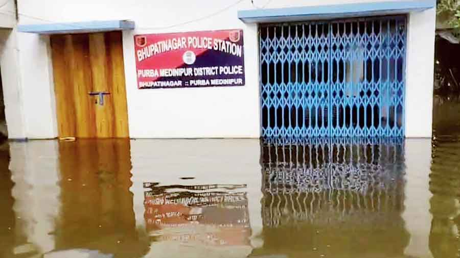 The flooded Bhupatinagar police station in East Midnapore