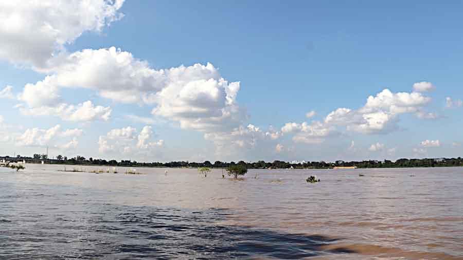 The overflowing Damodar river in Burdwan on Friday.