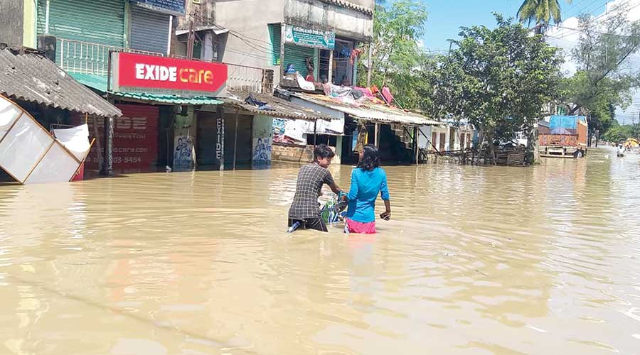 Buildings flooded in Howrah on Friday following the release of water by the DVC.