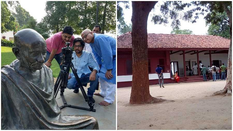Mehul Devkala (behind camera) during the shoot of his film on Sabarmati Ashram (on the right) that may soon be flanked by VIP lounges and food courts