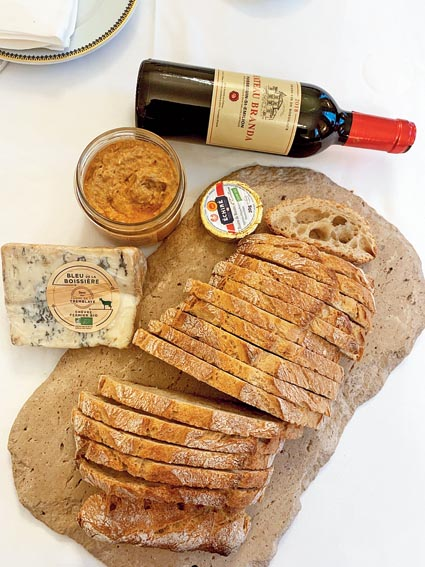 Picnic in the room — Bristol's famous sourdough bread, blue cheese and wine