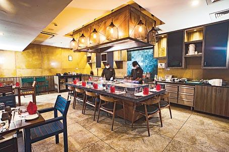 Interiors of the Japanese Teppanyaki restaurant