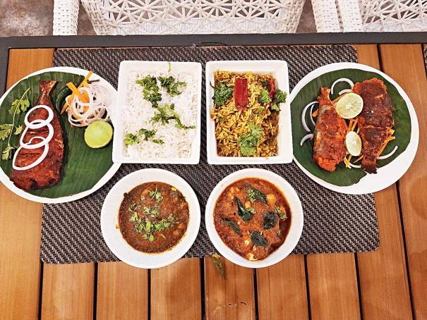 An elaborate meal put together by chef Ravi which includes dishes like Chepala Pulusu and Chelapa Vepudu, Chelapa Irugu along wish dishes made with Gongura leaf