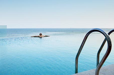 The Infinity pool and the ocean merge if looked at from certain angles