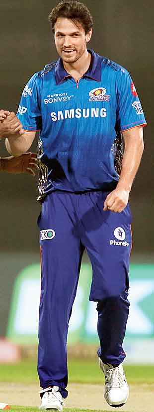 Mumbai Indians' man of the match Nathan Coulter-Nile after sacking Yashasvi Jaiswal of the Rajasthan Royals in Sharjah on Tuesday.