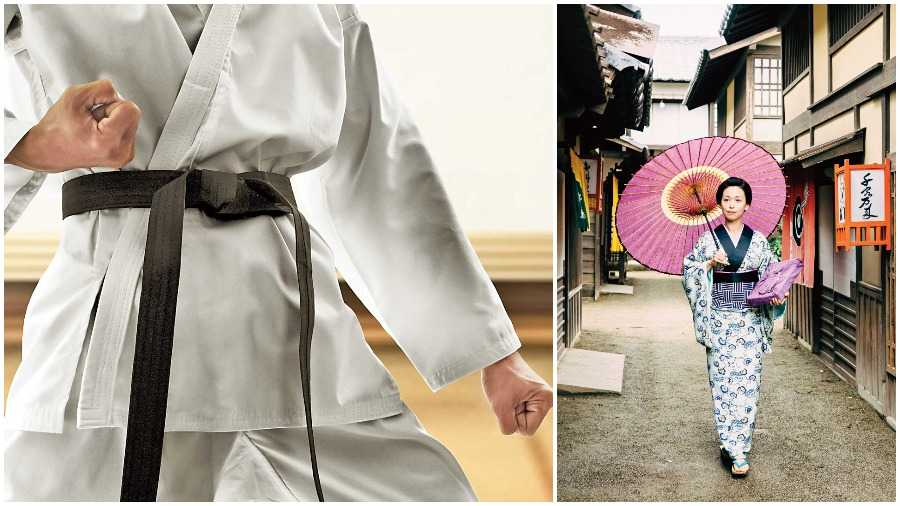 (From left) A Karate Gi and the kimono, which inspired the Gi