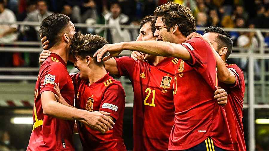 Ferran Torres scored two goals in the first half for Spain.