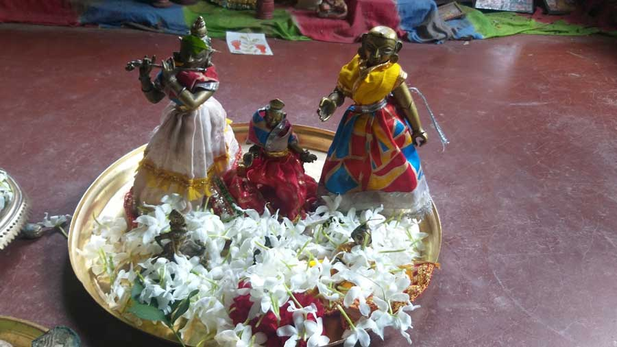 The 'Bidhoba Radha' idol. 'Bidhoba Radha Puja' is an indispensable part of the Chatterjee family puja rituals