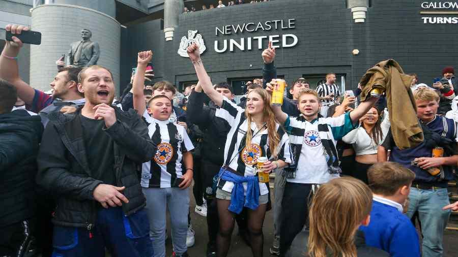 Newcastle United fans outside the St James' Park Stadium.