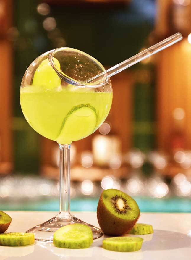 The Green City is a refreshing vodka-based drink with fresh kiwi juice, cucumber and topped with soda.