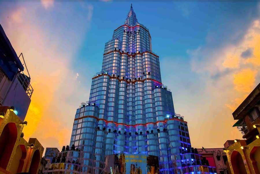 The Burj Khalifa replica at Sreebhumi Sporting Club Durga Puja pandal on VIP Road