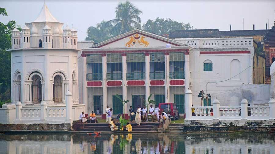 The palatial 'kacharibari' housing the 'Durga dalan'