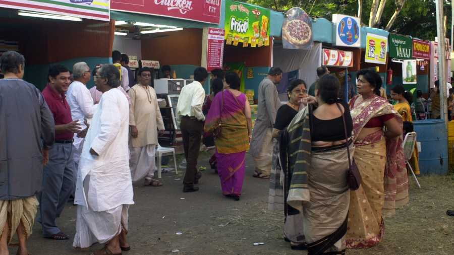Food stalls galore at one of the better-known Calcutta pujas before the pandemic played spoilsport