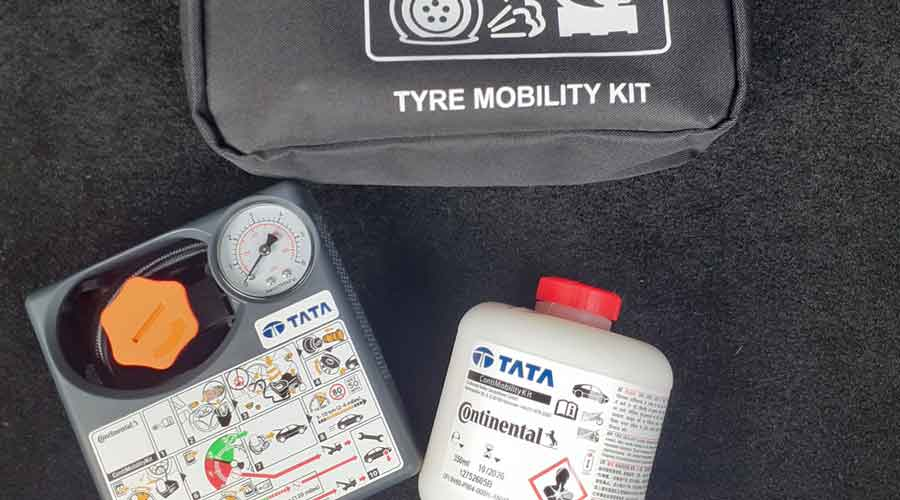 Along with a spare wheel, there is also a puncture repair kit that comes with the car