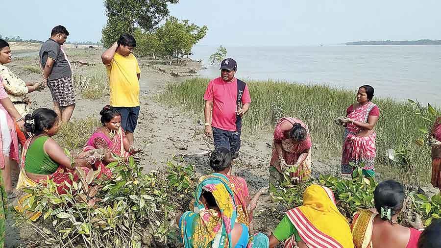 IIT-Kharagpur students  on Friday plant mangroves at Parashmani village in the Sunderbans's Satjelia island, along with local women.