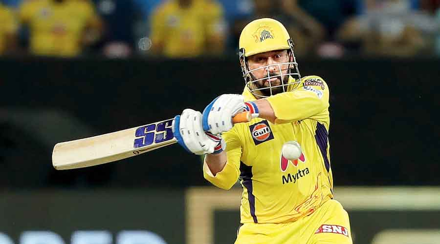 CSK captain Mahendra Singh Dhoni in action during the IPL Qualifier 1 against Delhi Capitals in Dubai on Sunday.